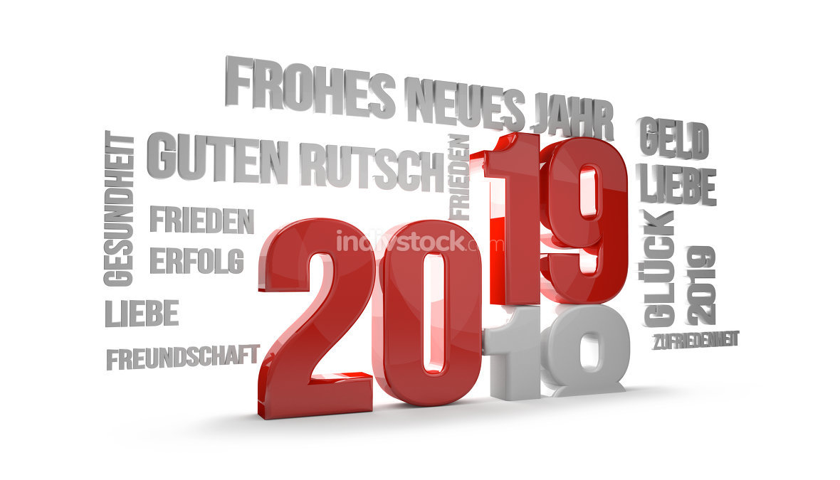 german language for happy new year 2019 3D Render