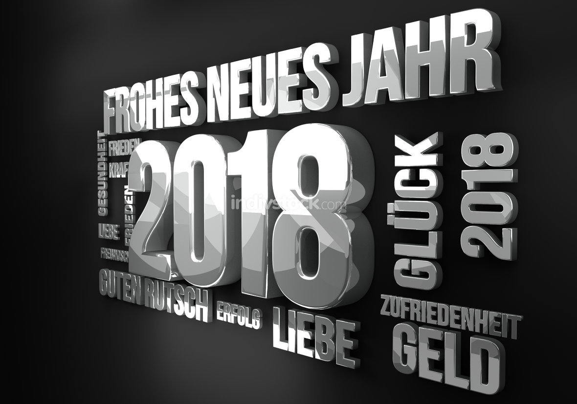 german language for new year 2018 3d render