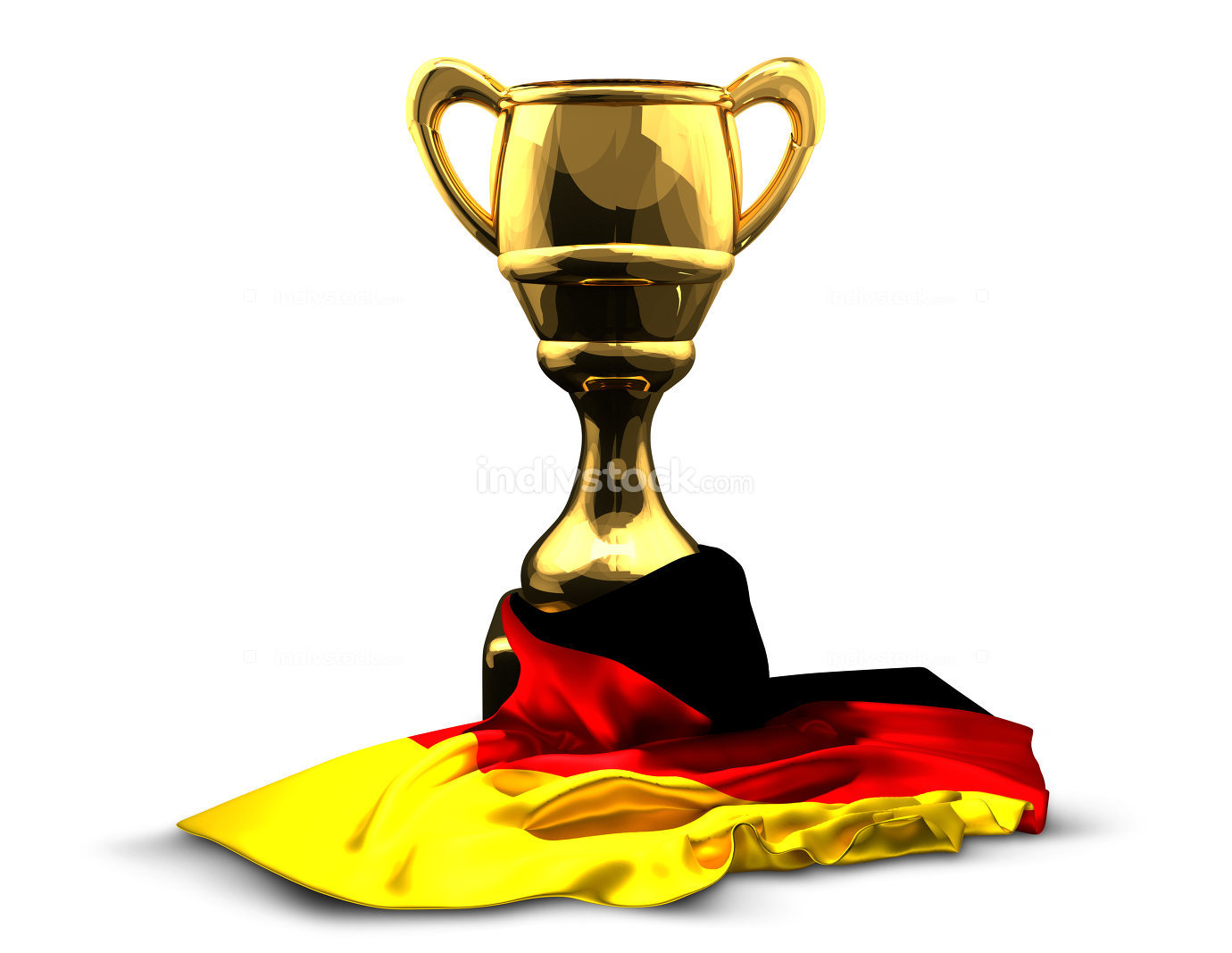 Germany german flag over golden cup 3d rendering