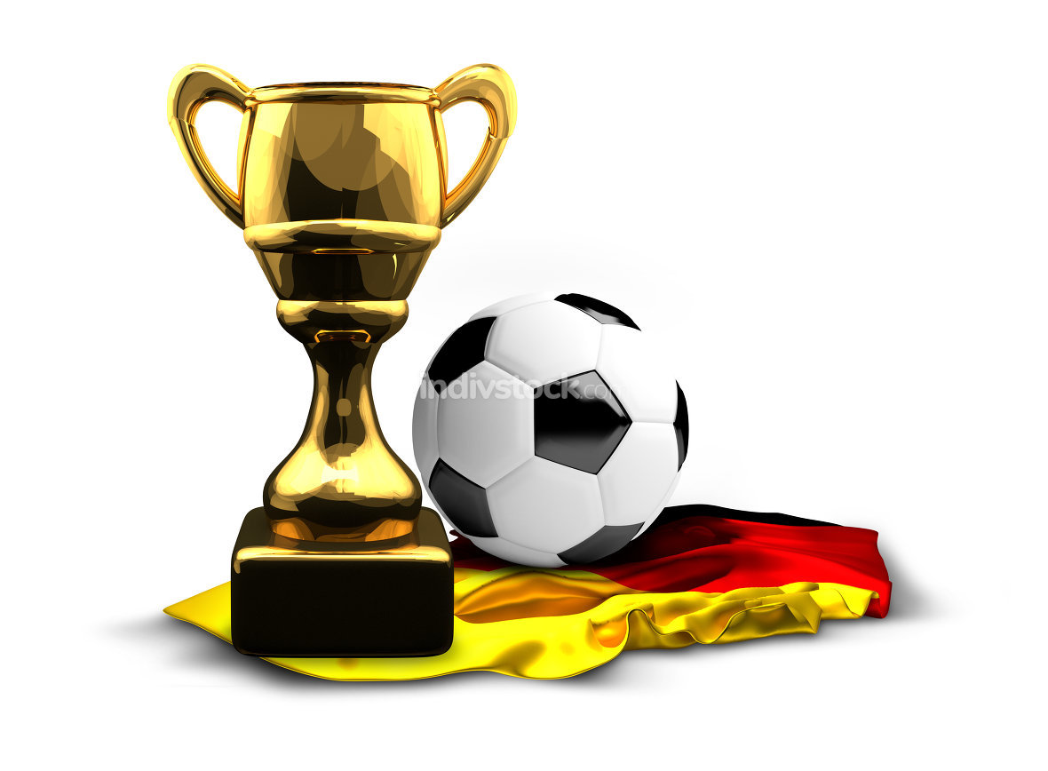 Germany. german flag soccer football trophy Cup and ball. 3d ren