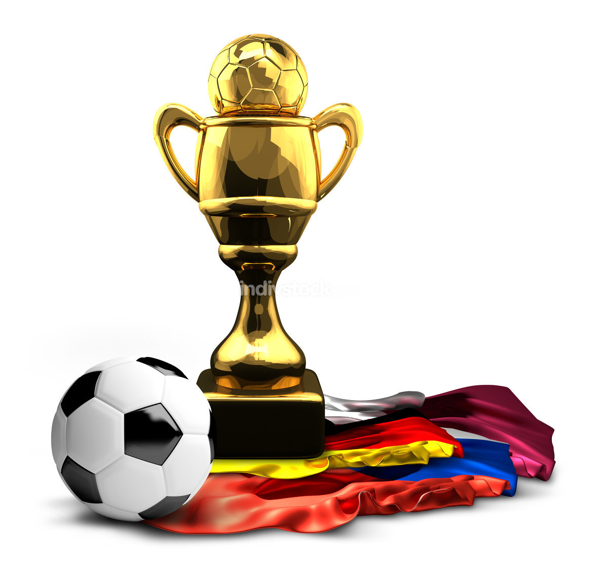 Germany Russia and Qatar flags golden football soccer Cup. 3d re