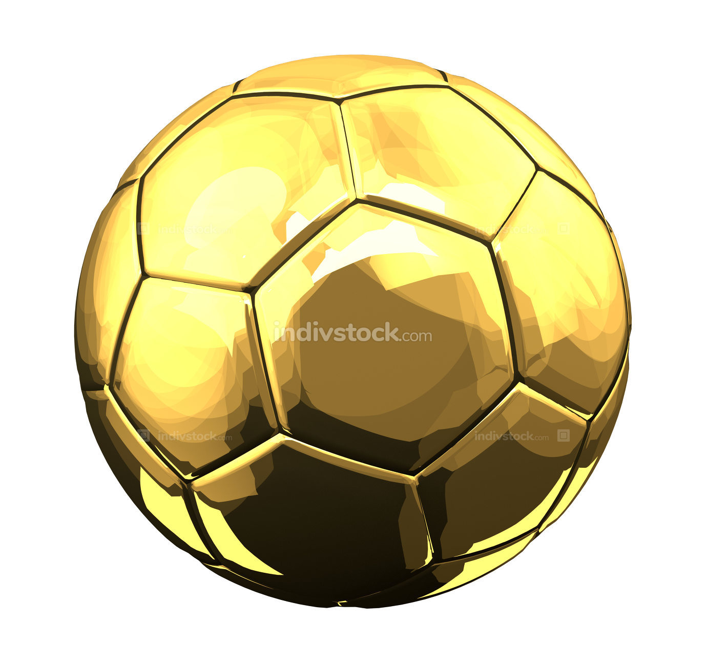 golden elegance luxury fooball soccer ball 3d rendering