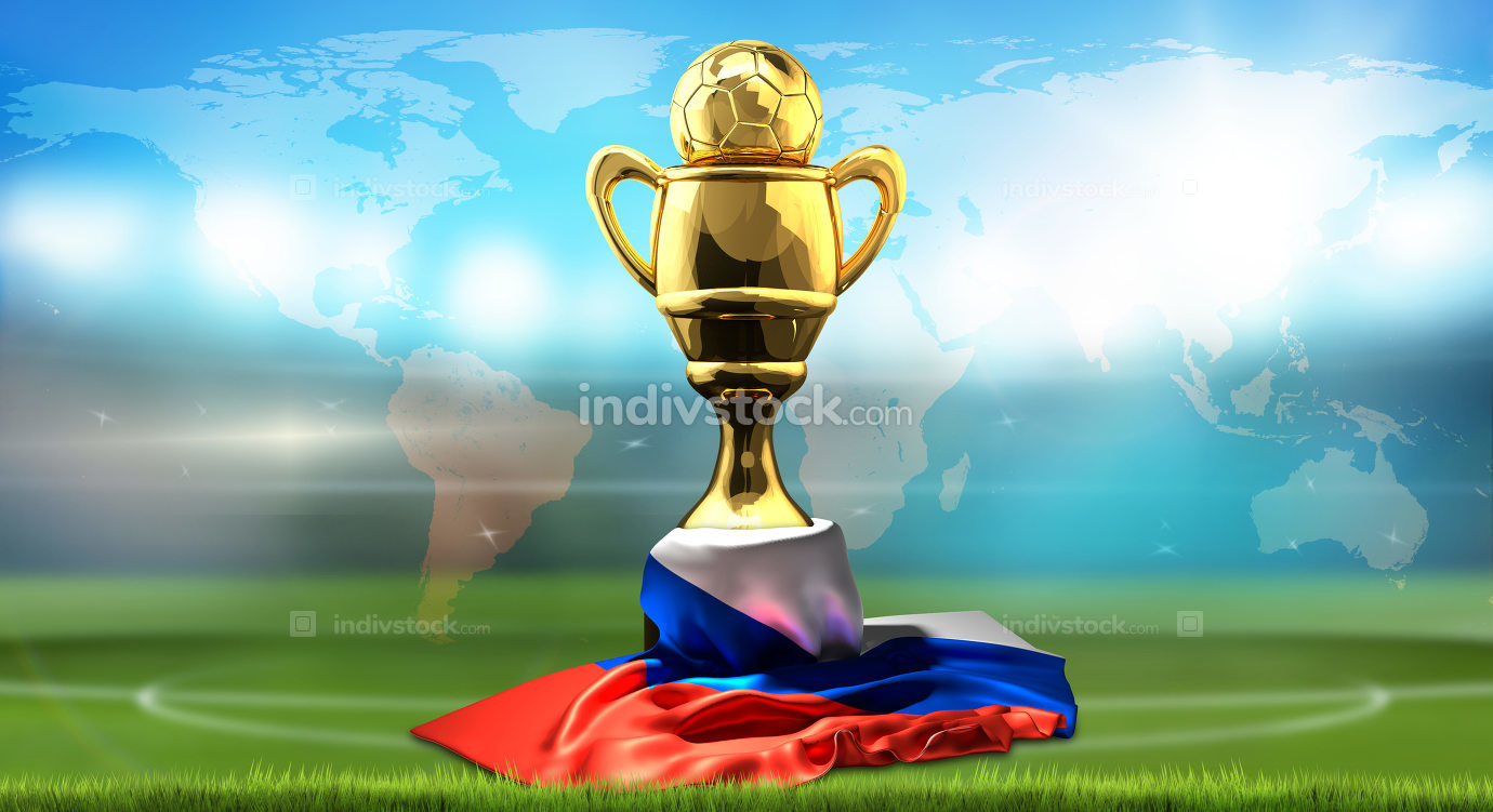 Golden football champion Cup. Front view with soccer football ba