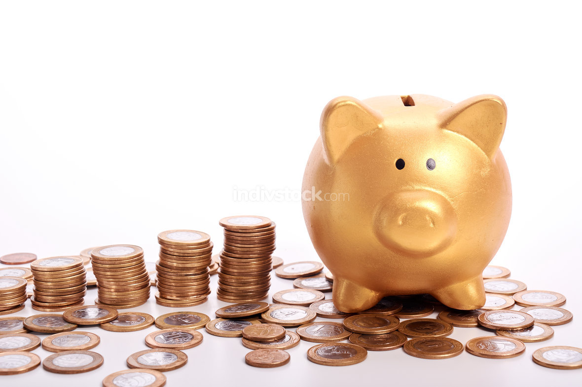 Golden piggy bank with savings in coins of the Brazilian money