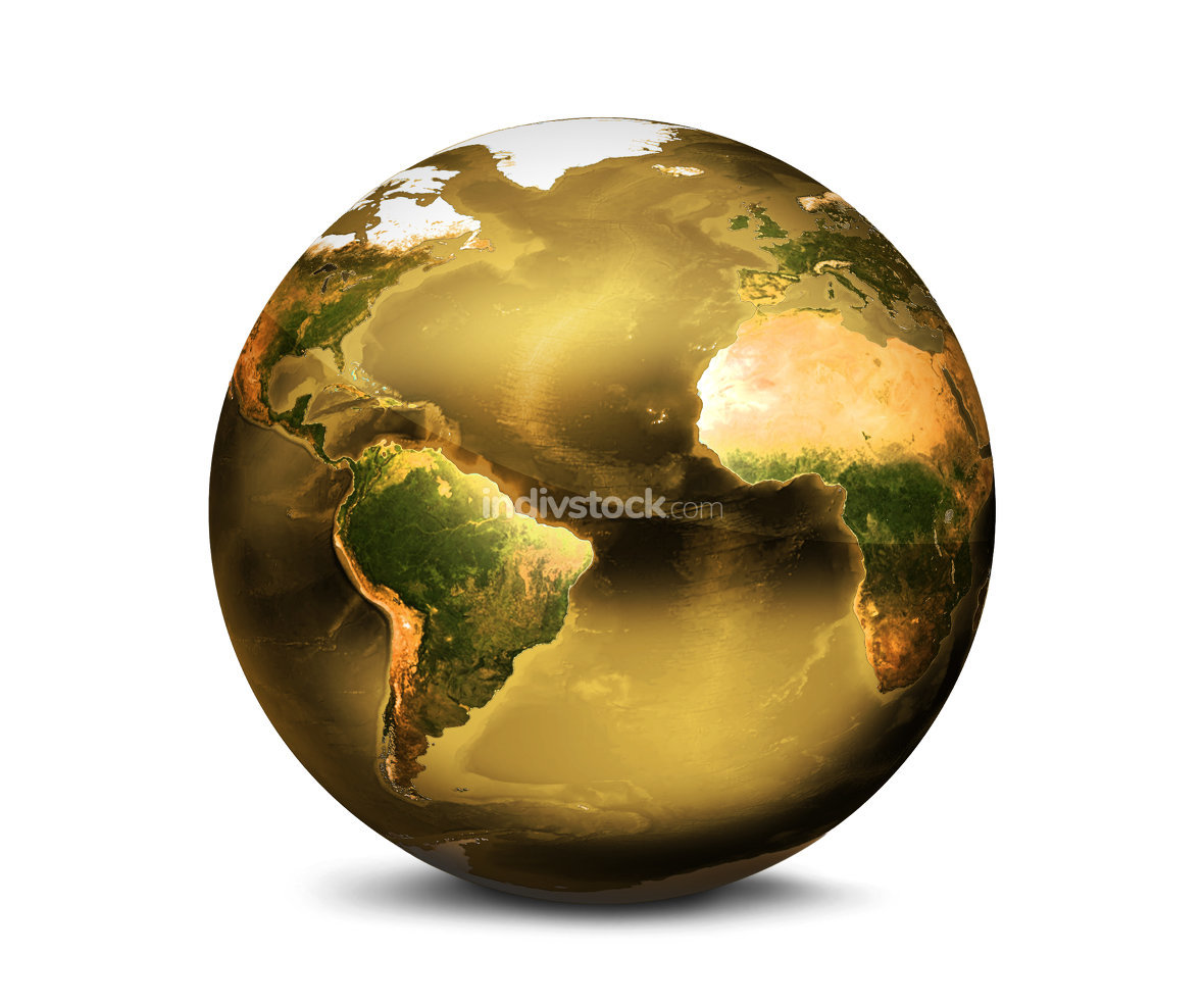 golden planet earth 3d render. Elements of this image furnished by NASA.