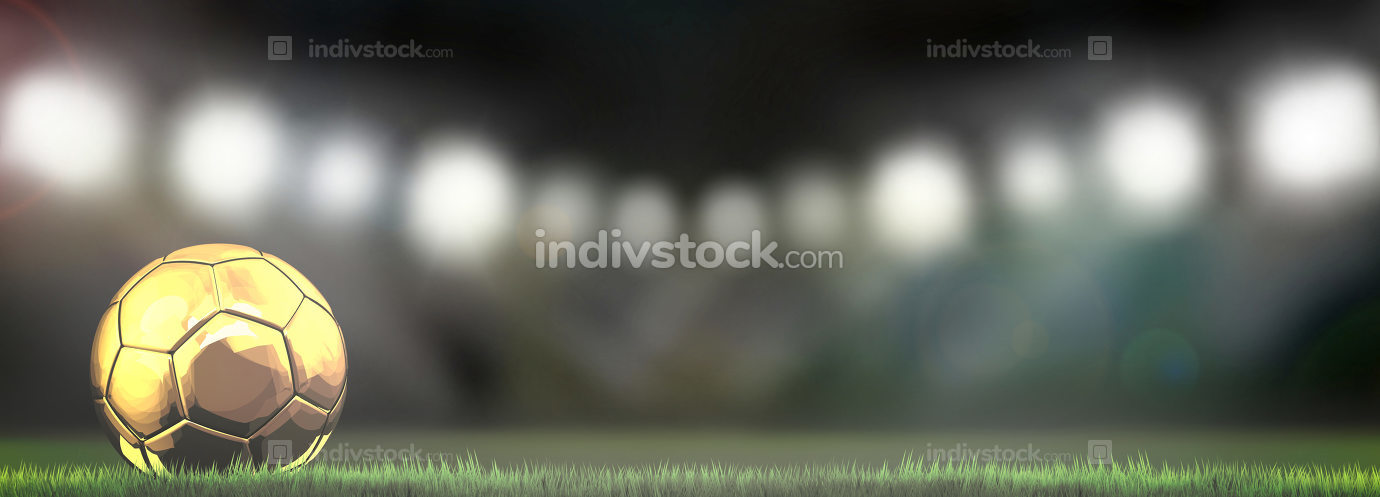 golden soccer football ball in stadium 3d rendering