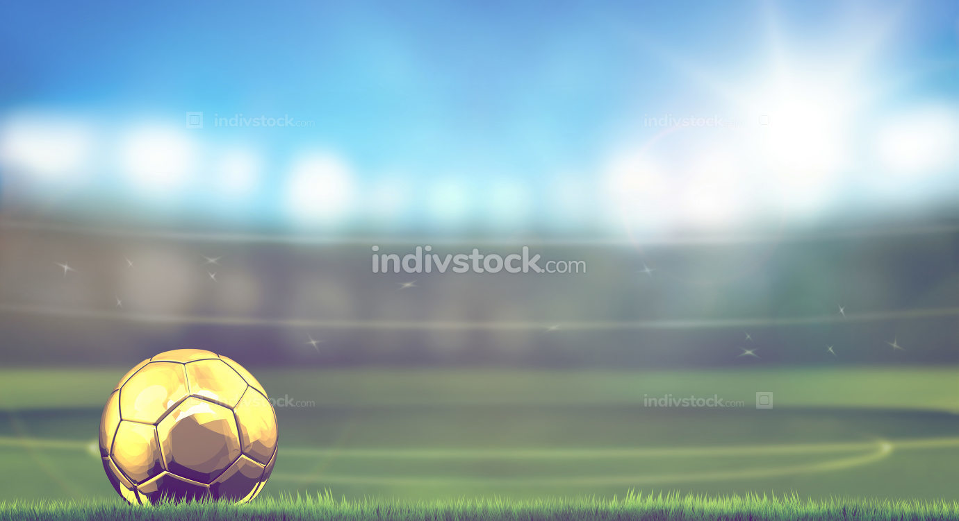 golden soccer football ball in stadium 3d rendering