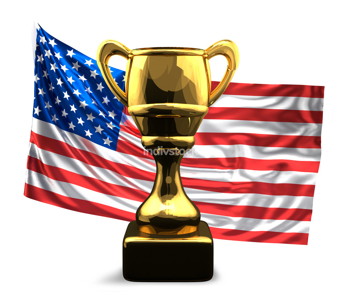 golden trophy and flag of the united states of america. 3d rende