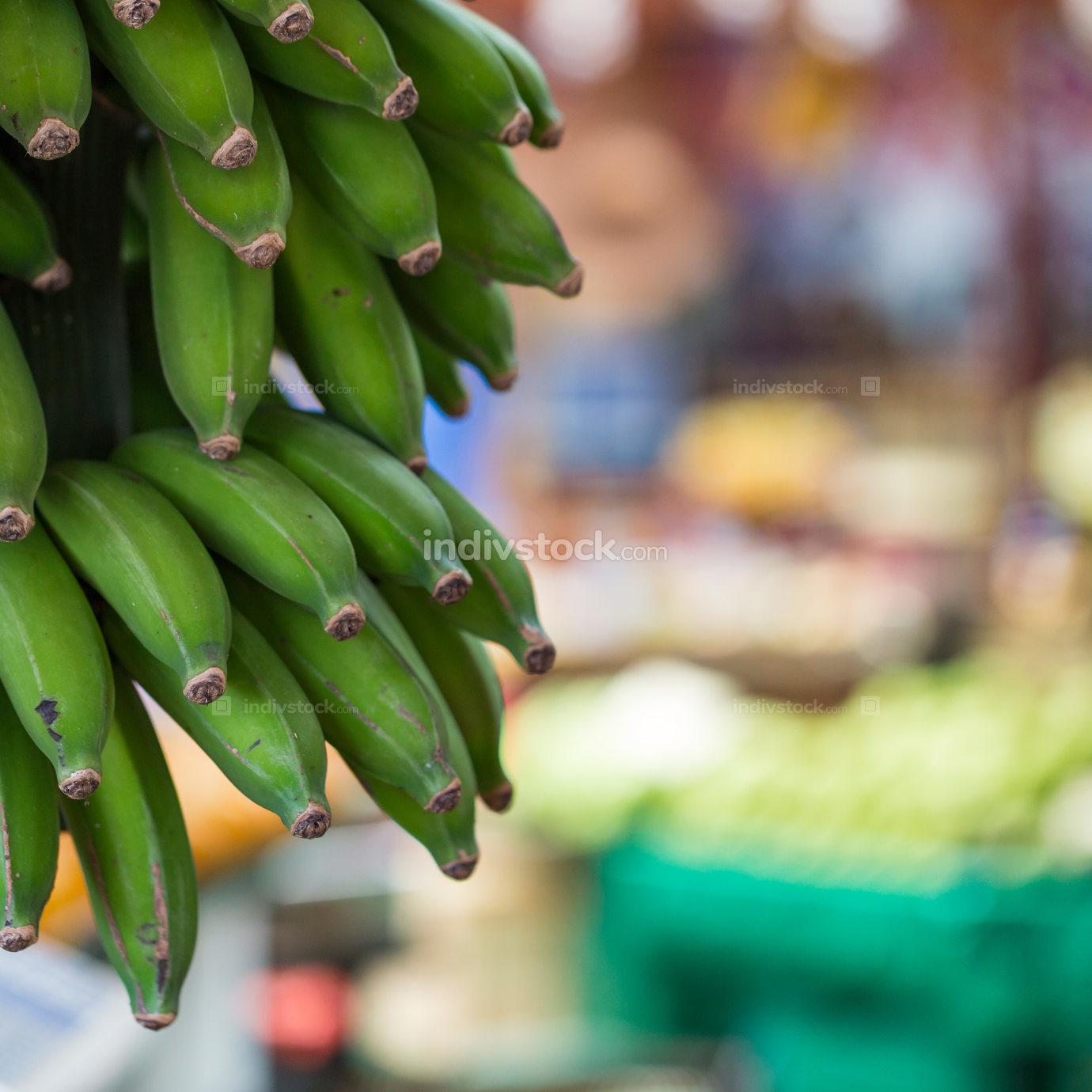 green banana, bananas, at market