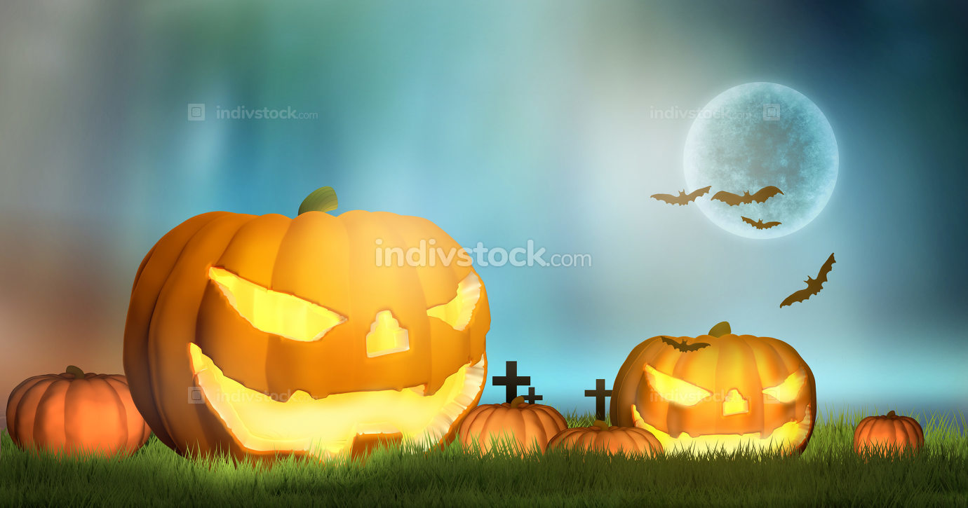 halloween 3d rendering pumpkins moon and bats at halloween night