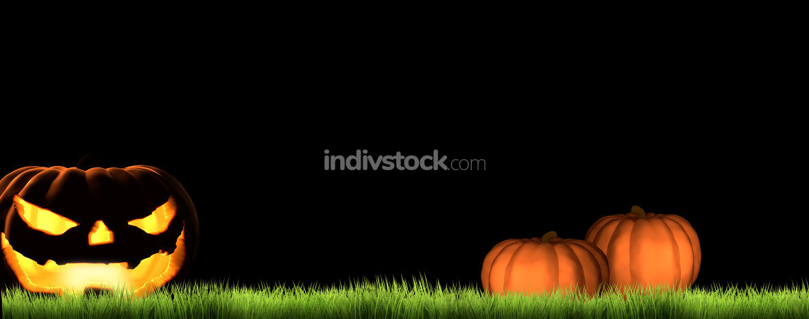 Halloween night background 3d render pumpkins