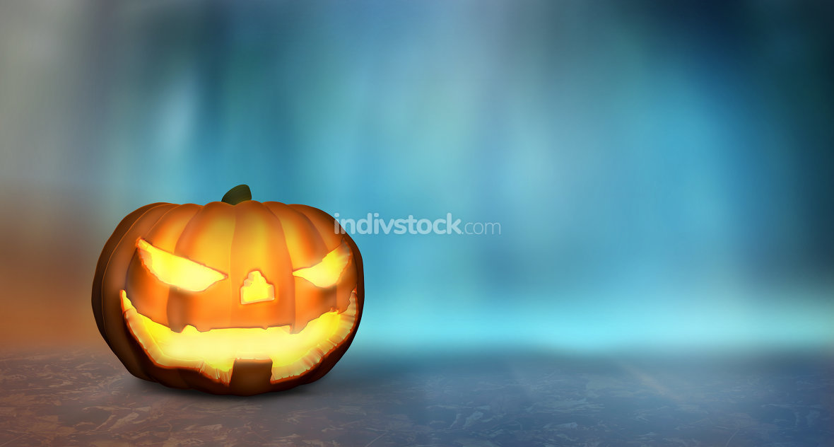 Halloween pumpkin and deep forest blurred background 3d render