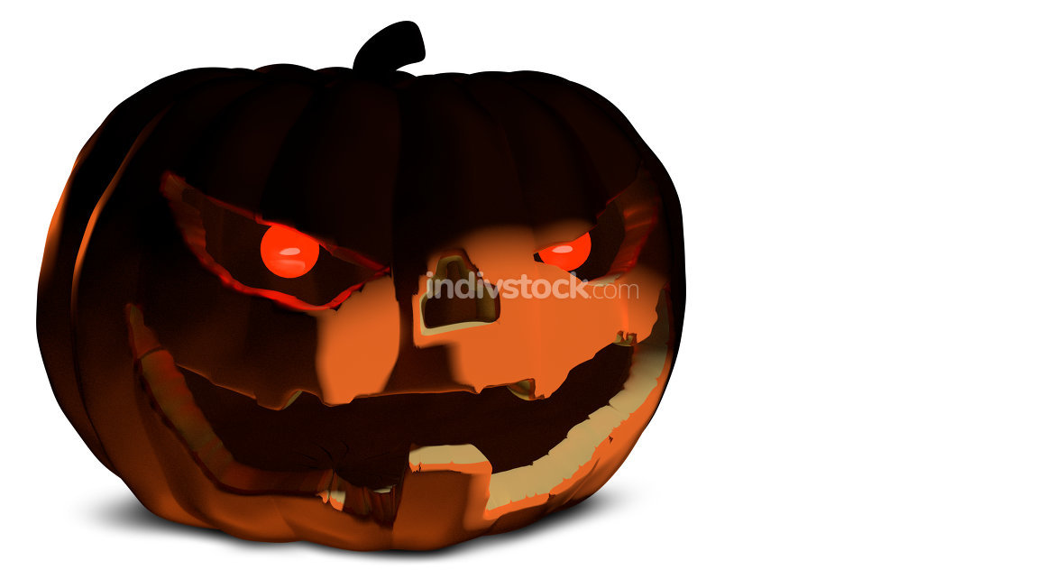 Halloween pumpkin evil horror face isolated 3d rendering