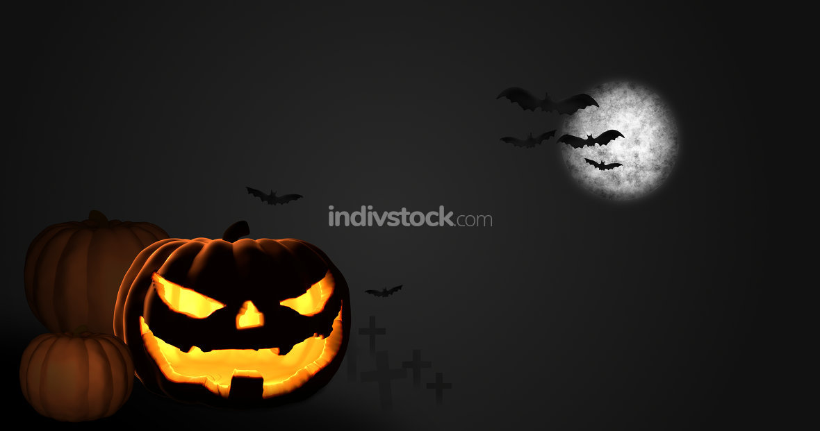 halloween pumpkin moon night 3D render