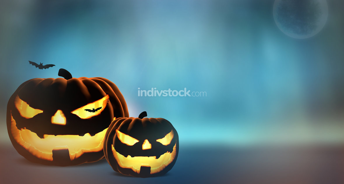 halloween pumpkins. 3d render halloween background