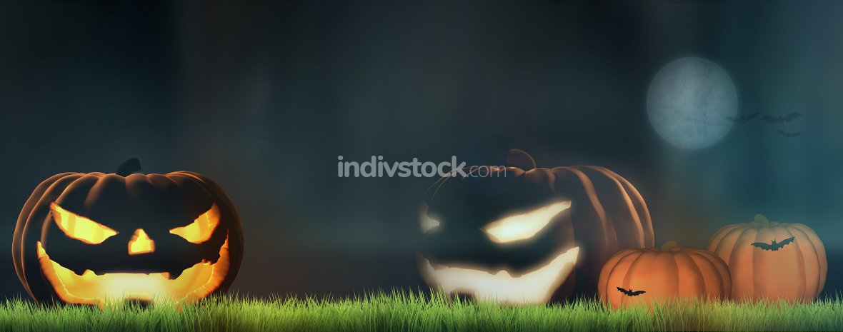 halloween pumpkins at night 3d render