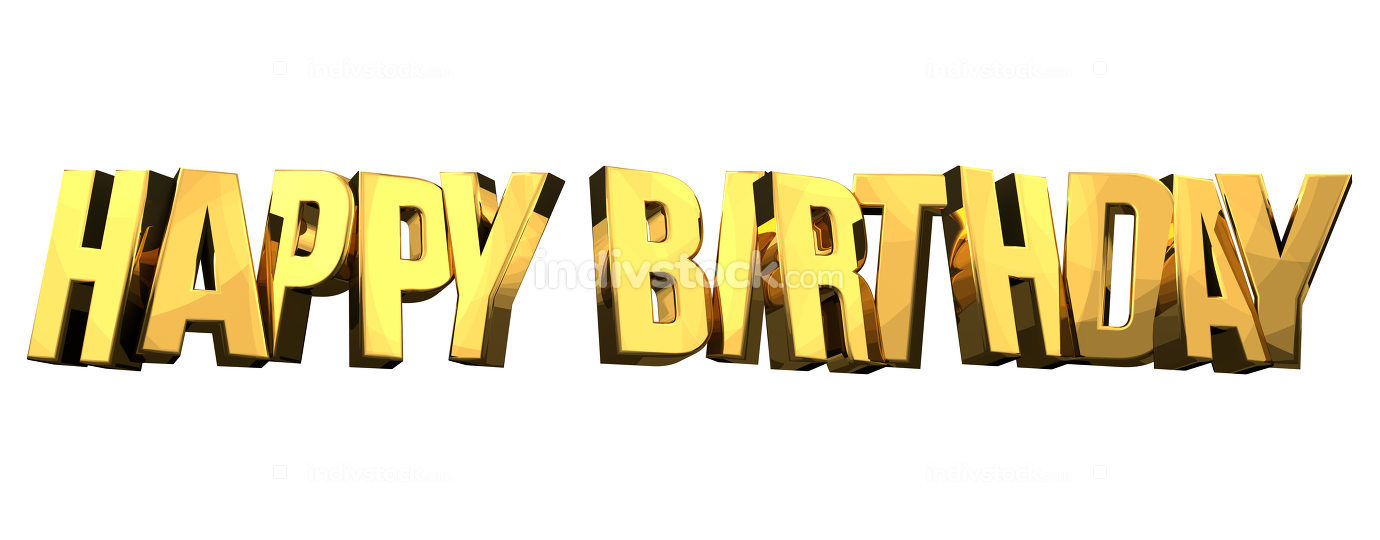 happy birthday golden isolated 3d render symbol bold font