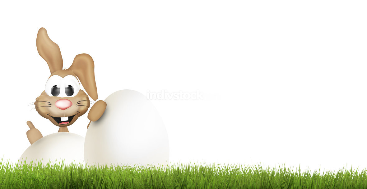 happy easter bunny. big easter eggs 3d render