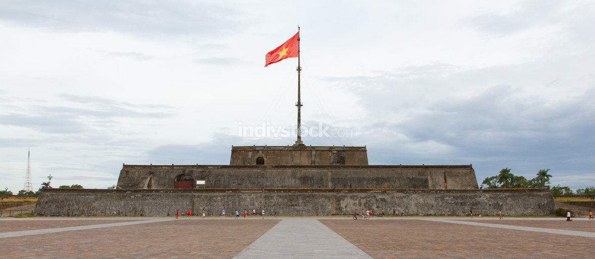 HUE, VIETNAM - 2012: Flag Tower overlooking Ngo Mon Square in Hue