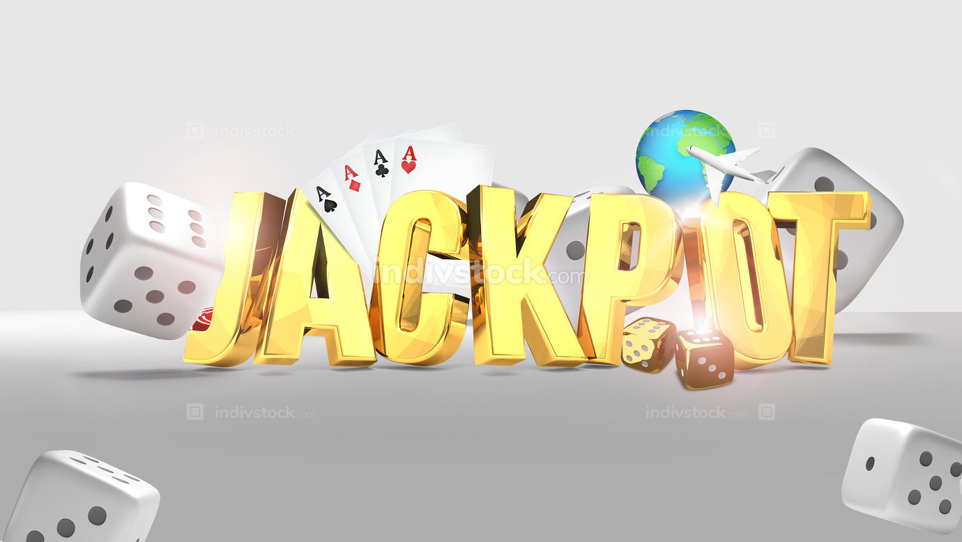 Jackpot 3d render golden design. Elements of this image furnishe