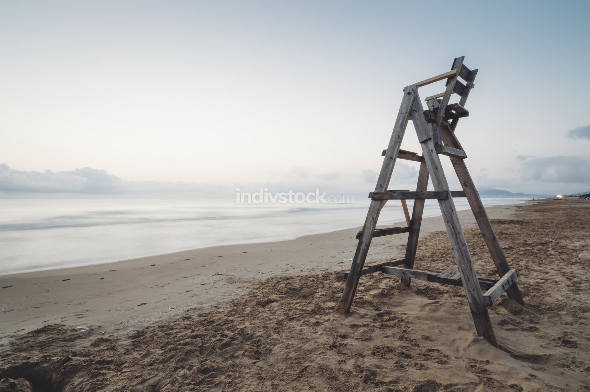 Lifeguard chair at dawn