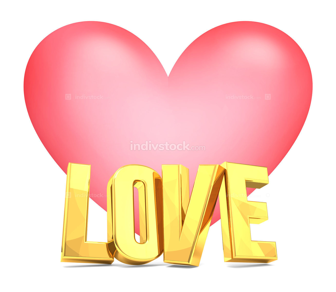 love golden 3d render and big heart