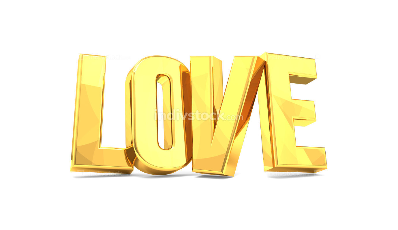 Love golden 3d render isolated