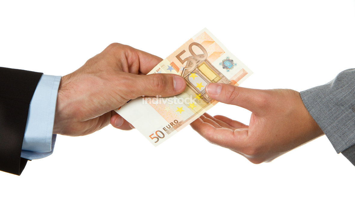 Man giving 50 euro to a woman (business)