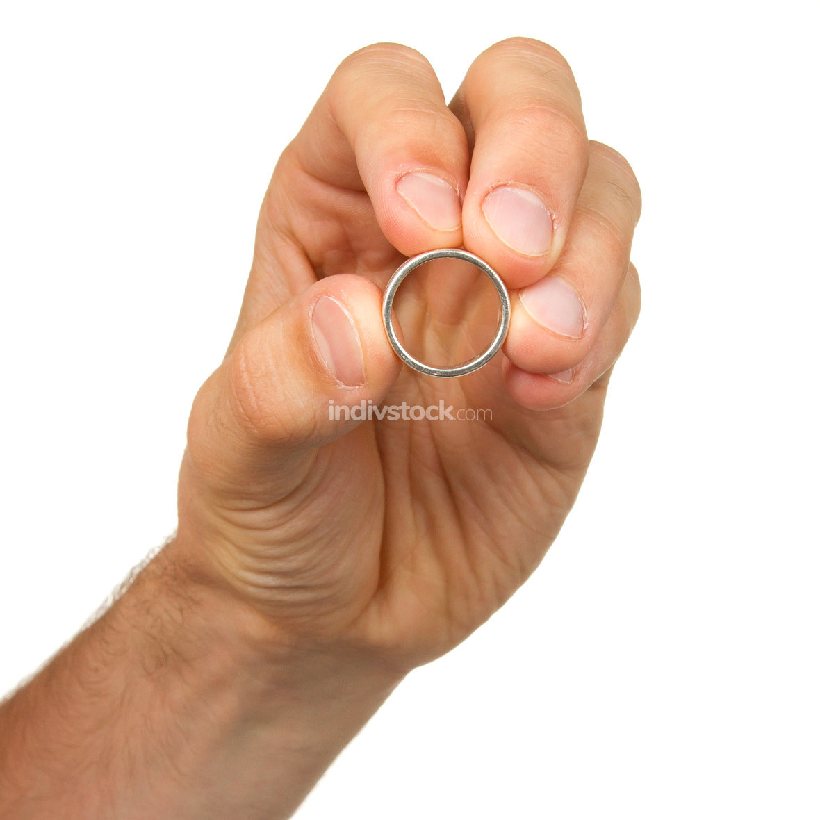 Man holding a silver ring