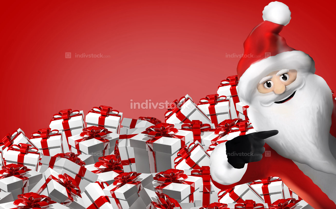 merry christmas gifts with Santa Claus 3d render