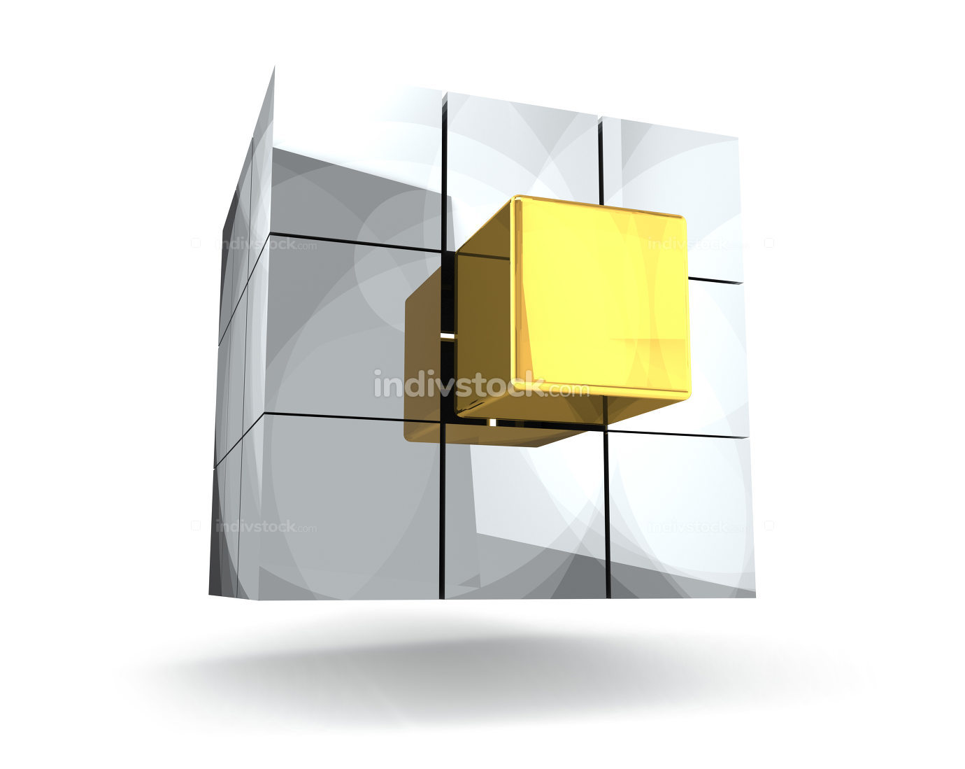 metallic 3d render insert cube best new golden