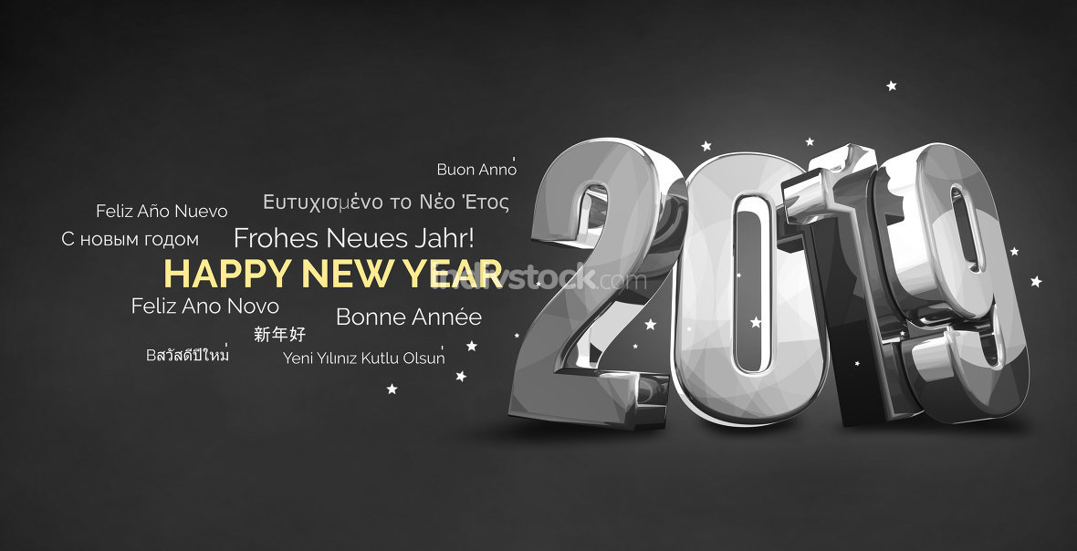 Multilingual 2019 Happy New Year