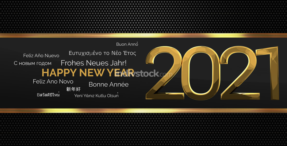 multilingual happy new year 3d render background