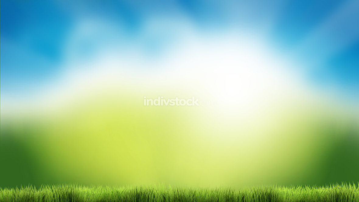 nature green grass blue sky nature spring summer 3d render backg