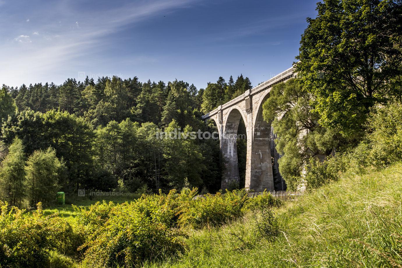 Old concrete railway bridge in Stanczyki, Mazury, Poland
