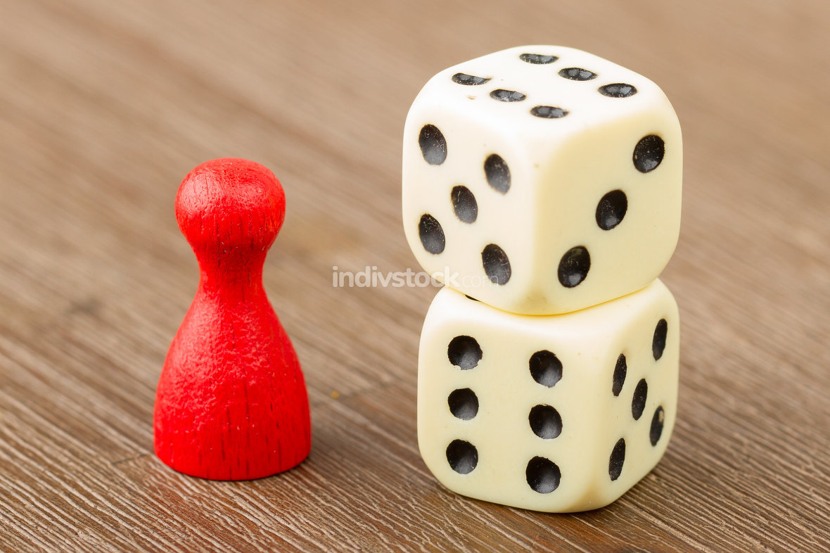 One red pawn and two dice