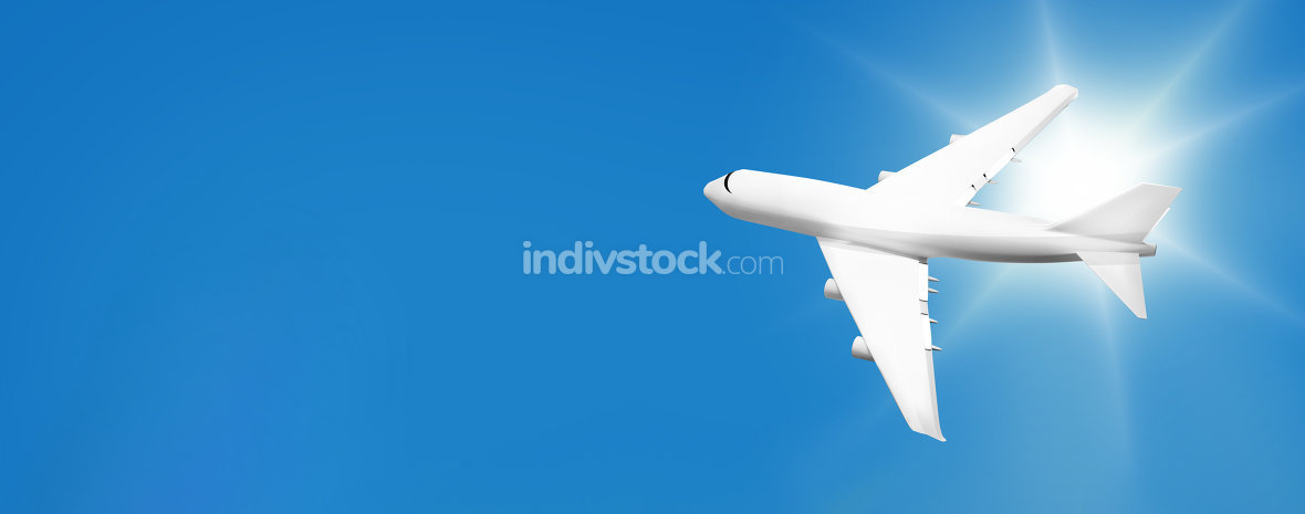 plane aircraft flight on blue sunny sky travel 3d render