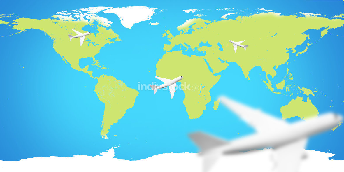 planes world map. Elements of this image furnished by NASA.