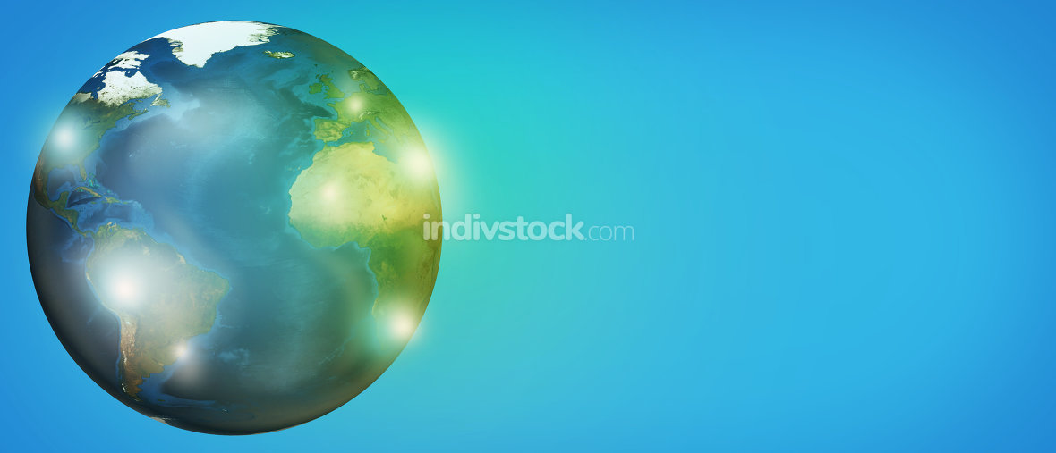 planet earth global 3d render