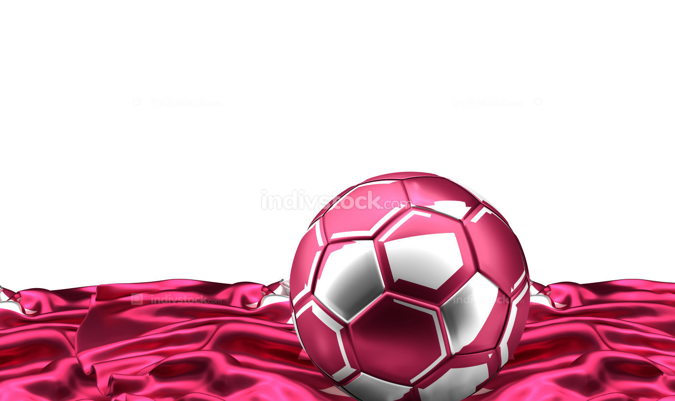 qatar soccer football ball and flag banner. 3d rendering