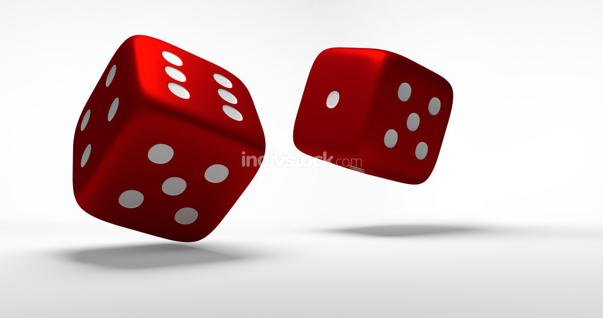 red cubes dices 3d rendering