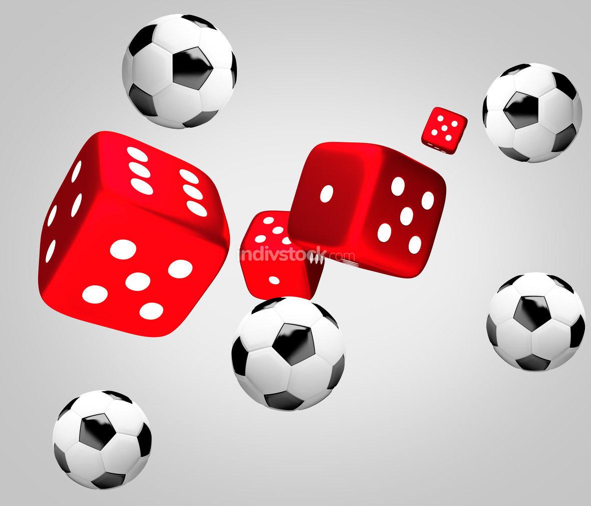 red dices and soccer balls 3d render