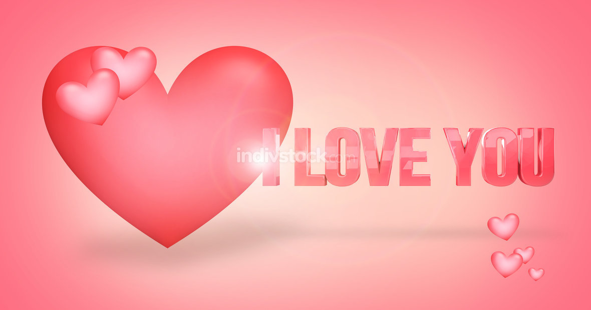 red heart background 3d render