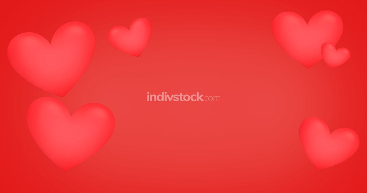 red hearts background 3d render