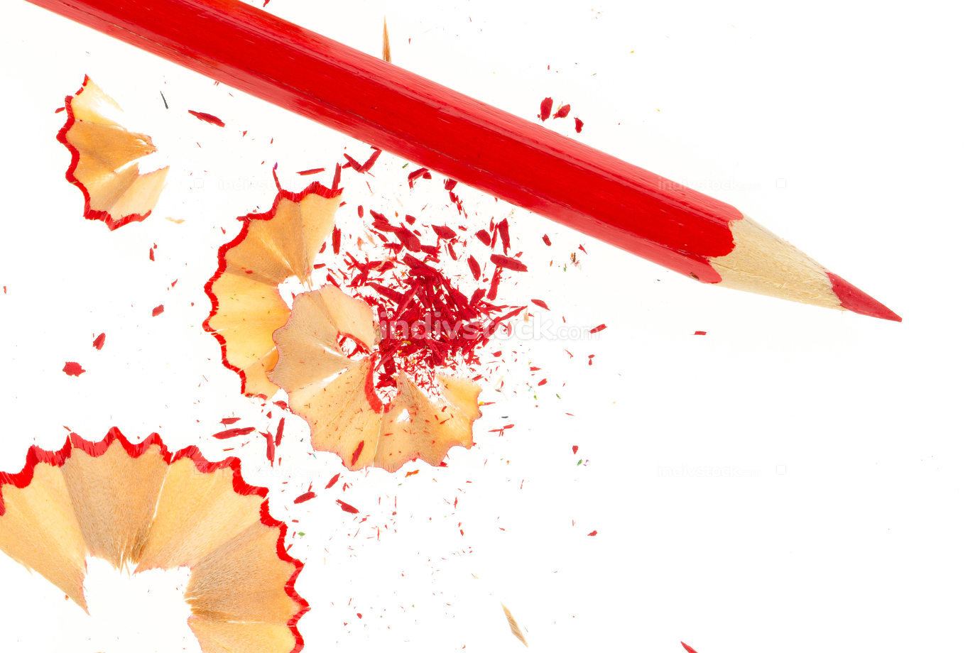 Red pencil and wood shavings