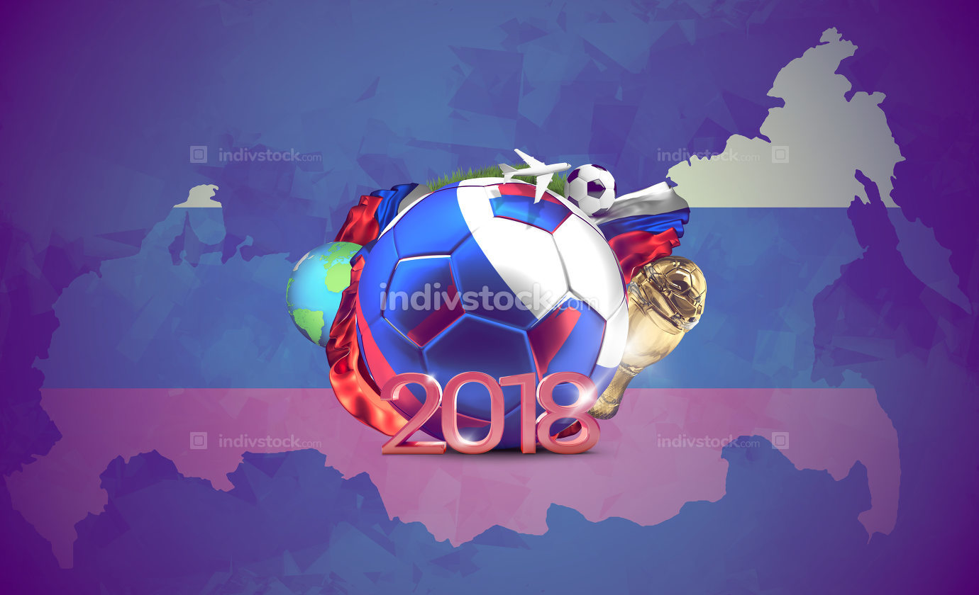 russia 2018 soccer football ball. 3d rendering over russian flag