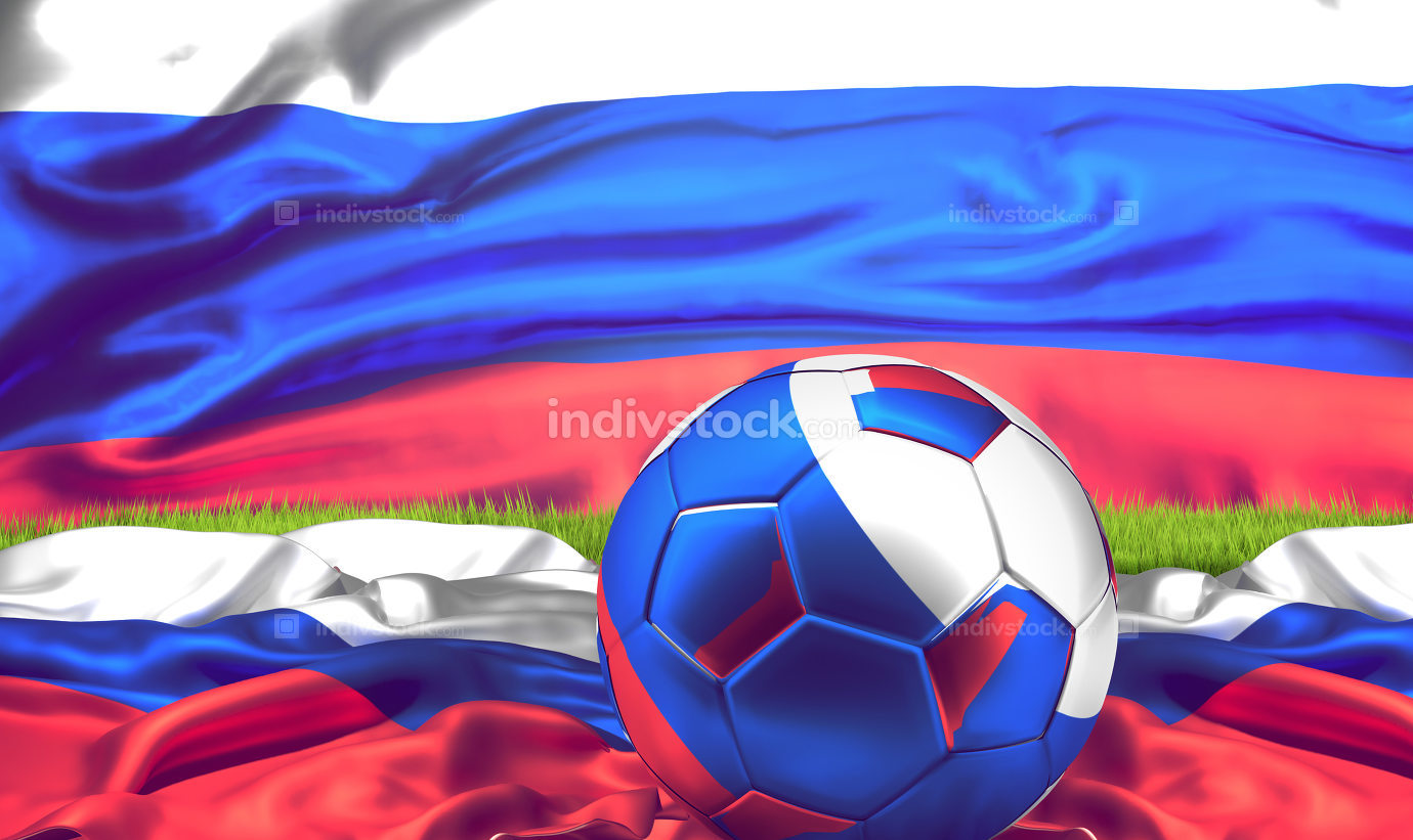 russia ball with russian flag banner. 3d rendering