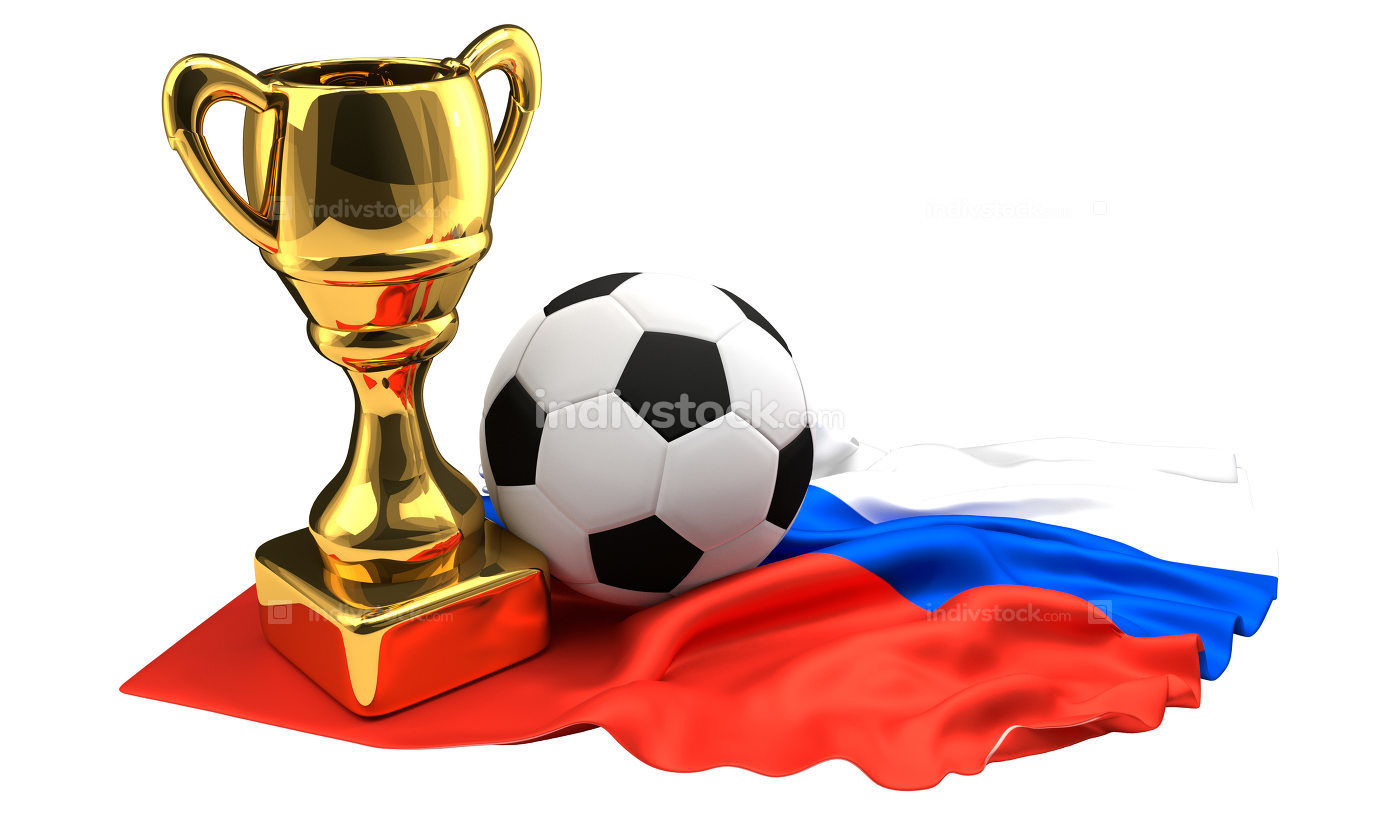 Russia golden trophy football Cup 3d rendering