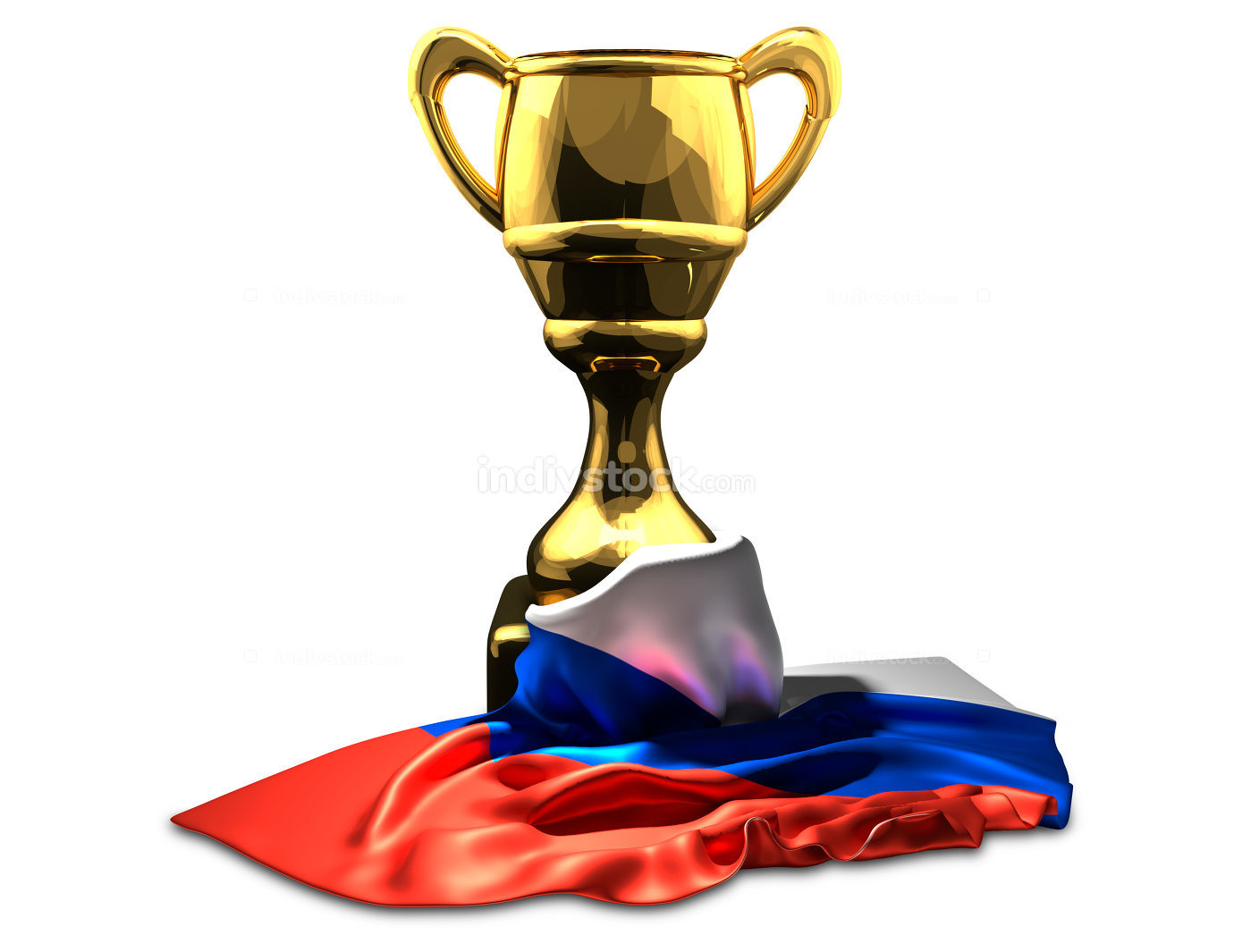 Russia russian flag over golden cup 3d rendering