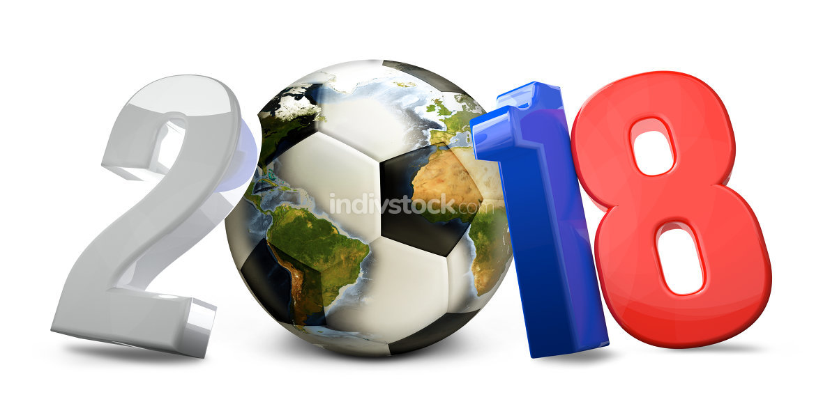 Russia soccer 3d render football ball. Elements of this image furnished by NASA.